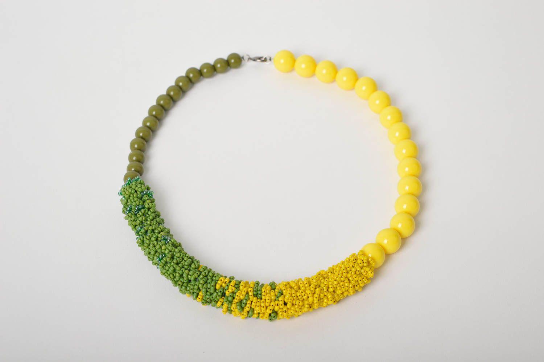 Handmade Schmuck Rocailles Kette Accessoire für Frauen Damen Collier grün gelb foto 3