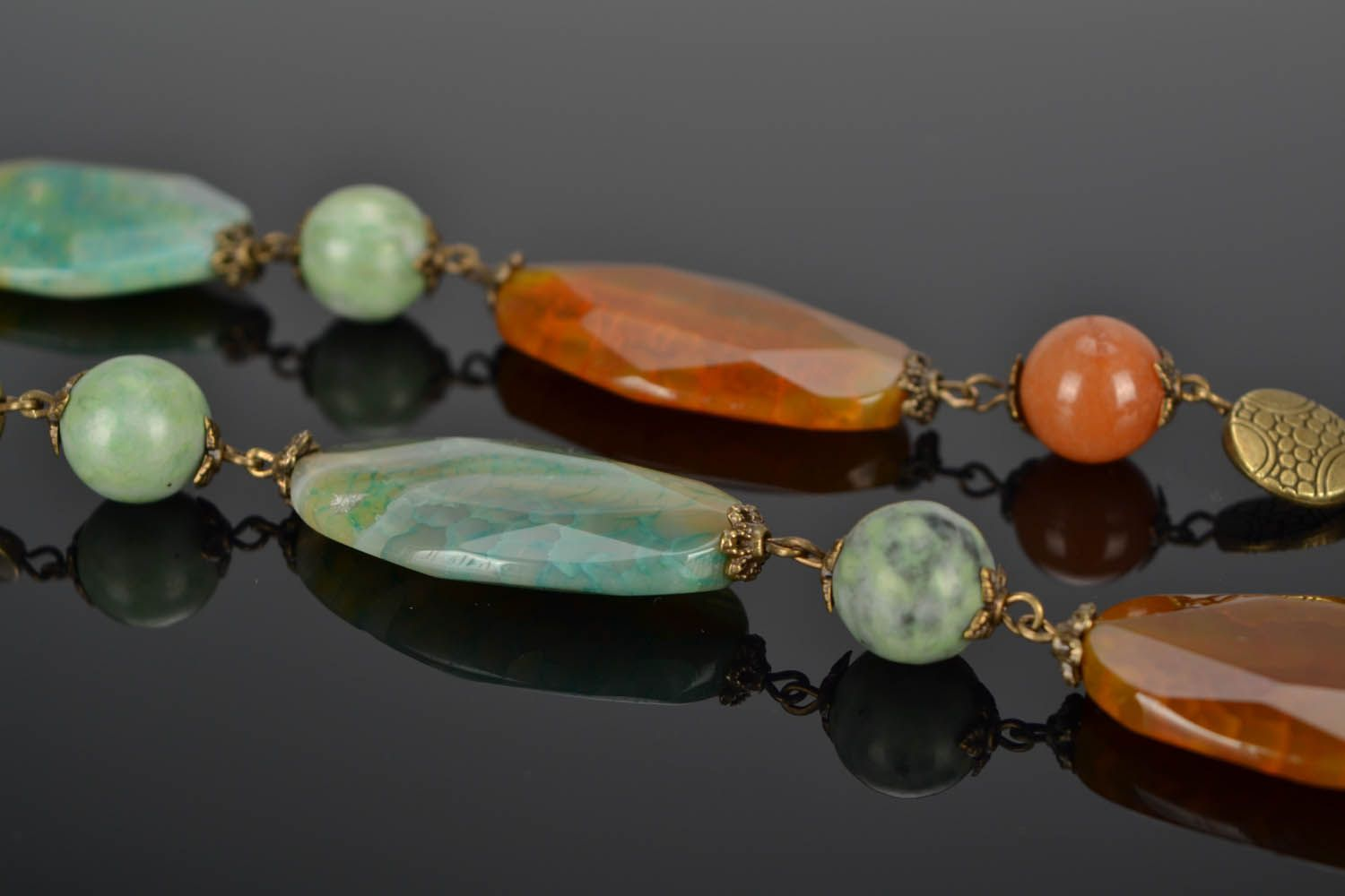 Beaded necklace made of natural stones Autumn photo 1