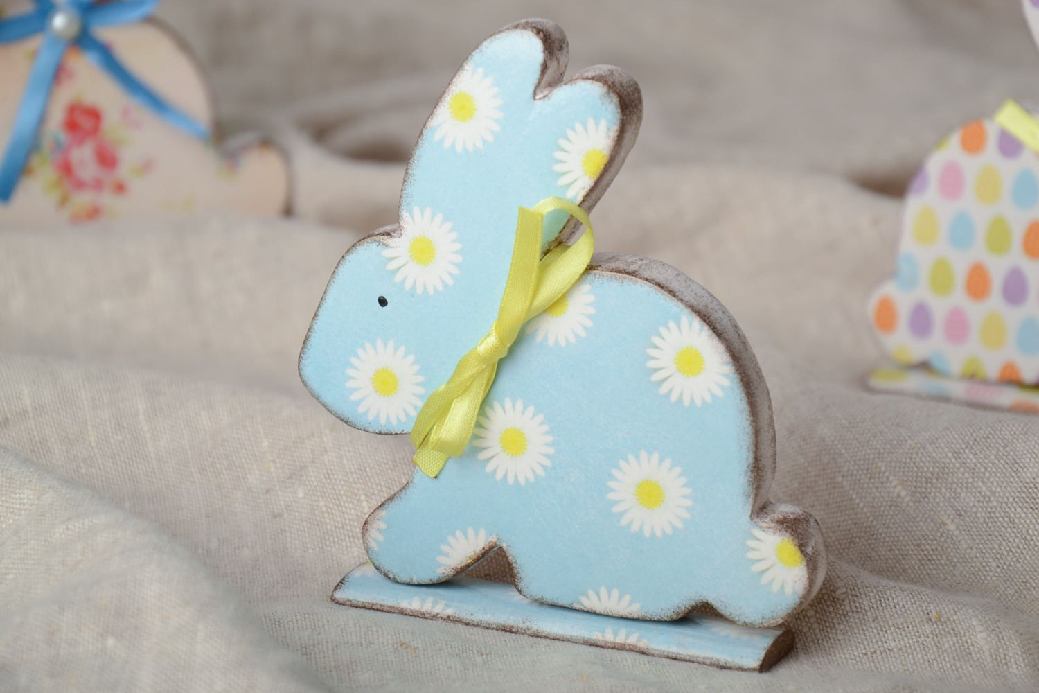 easter decor Wooden statuette of Easter rabbit for souvenir - MADEheart.com