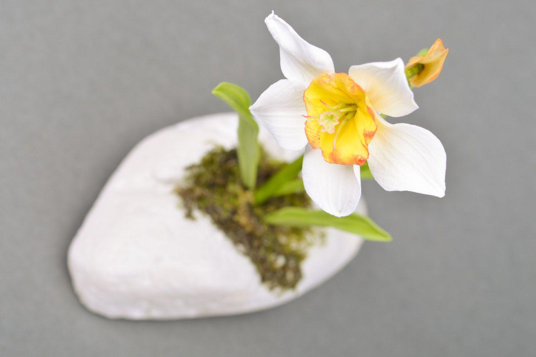 Handmade designer decorative white narcissus flower molded of polymer clay  photo 3