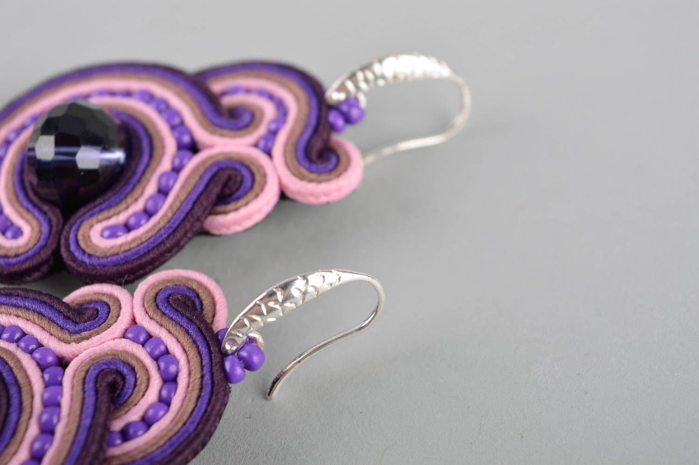 Фиолетовое украшение ручной работы серьги бижутерия большие серьги авторские фото 5