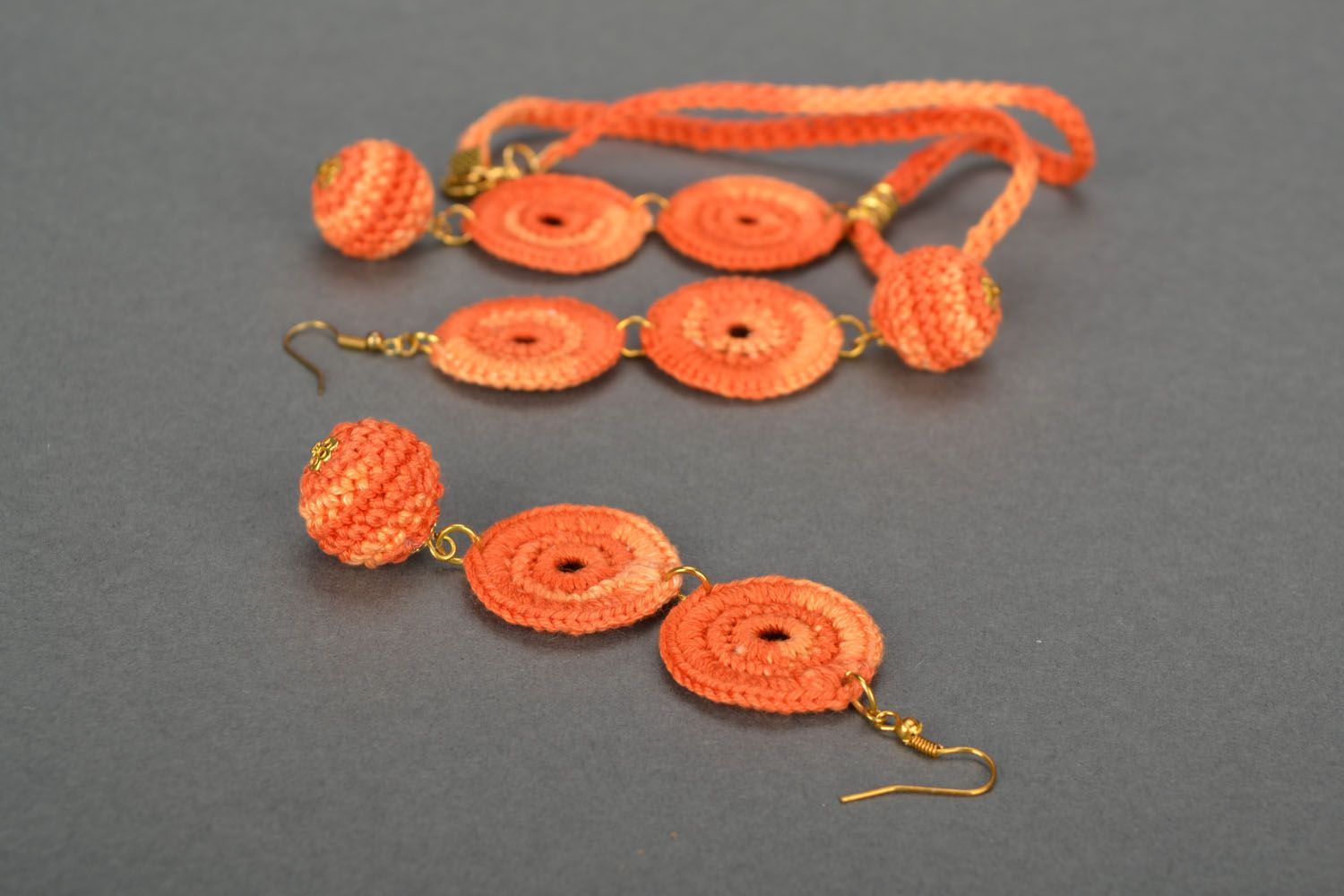 Crocheted handmade jewelry Orange photo 5