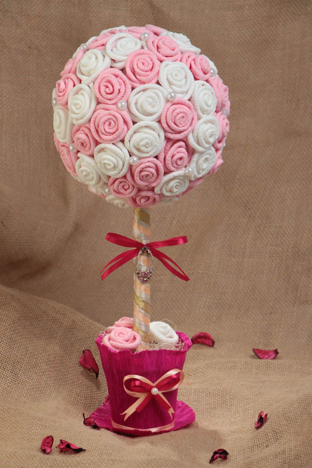 Handmade decorative topiary tree with white and pink paper roses with beads photo 1