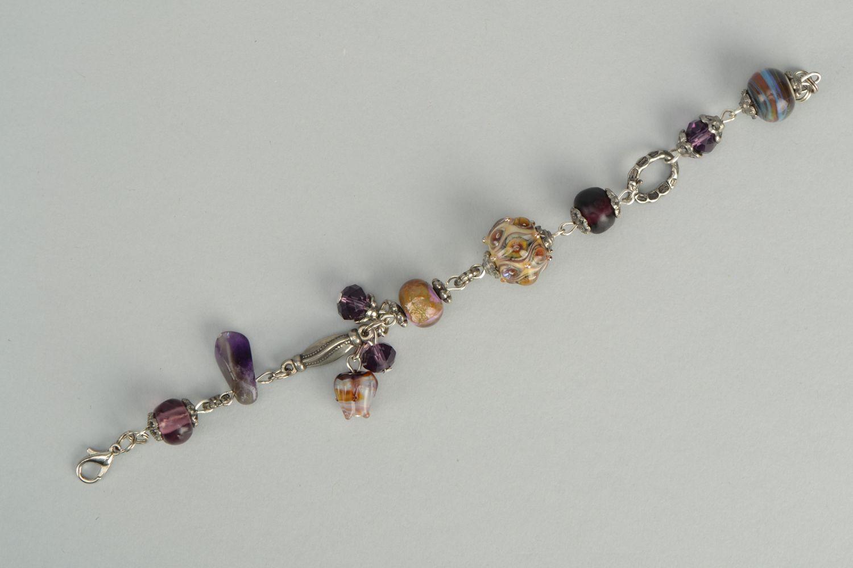 Wrist bracelet with lampwork glass beads Peacock Eye photo 6