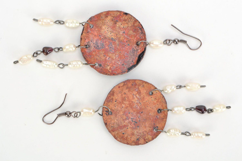 Copper earrings with enamel photo 3