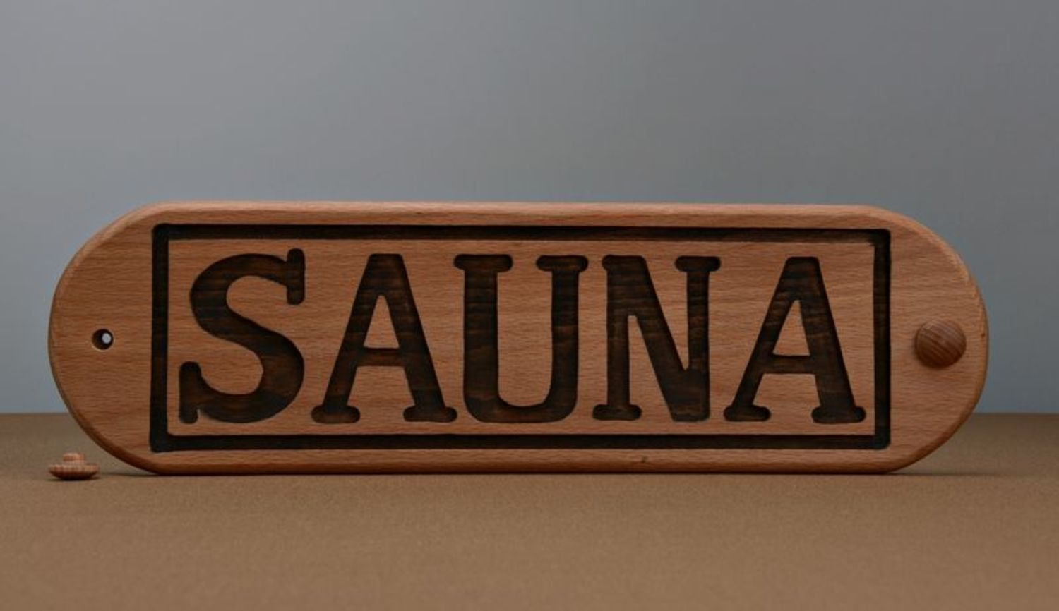Wooden nameplate for sauna photo 3