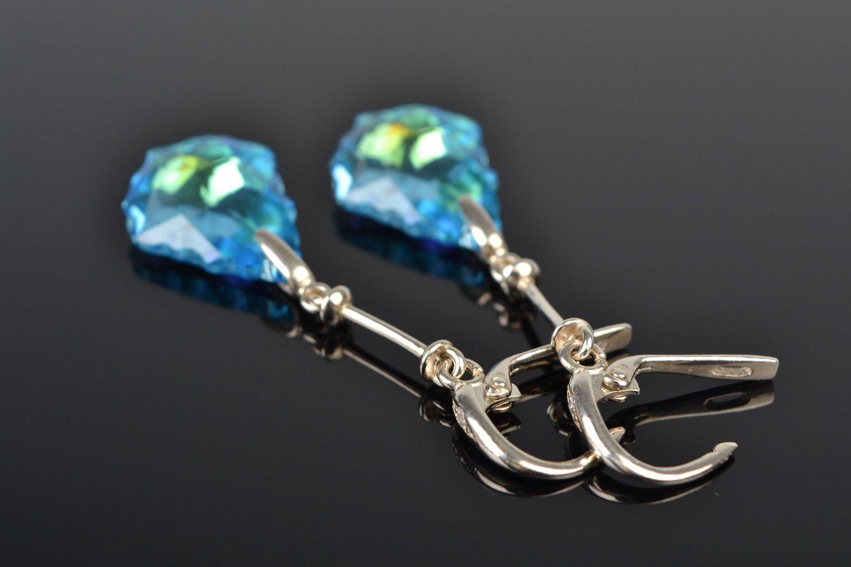 drop earrings Handmade festive long evening earrings with Austrian stones of blue color - MADEheart.com