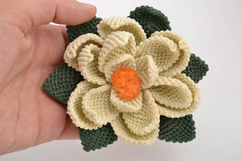 Handmade decorative artificial lotus flower woven using macrame technique photo 2