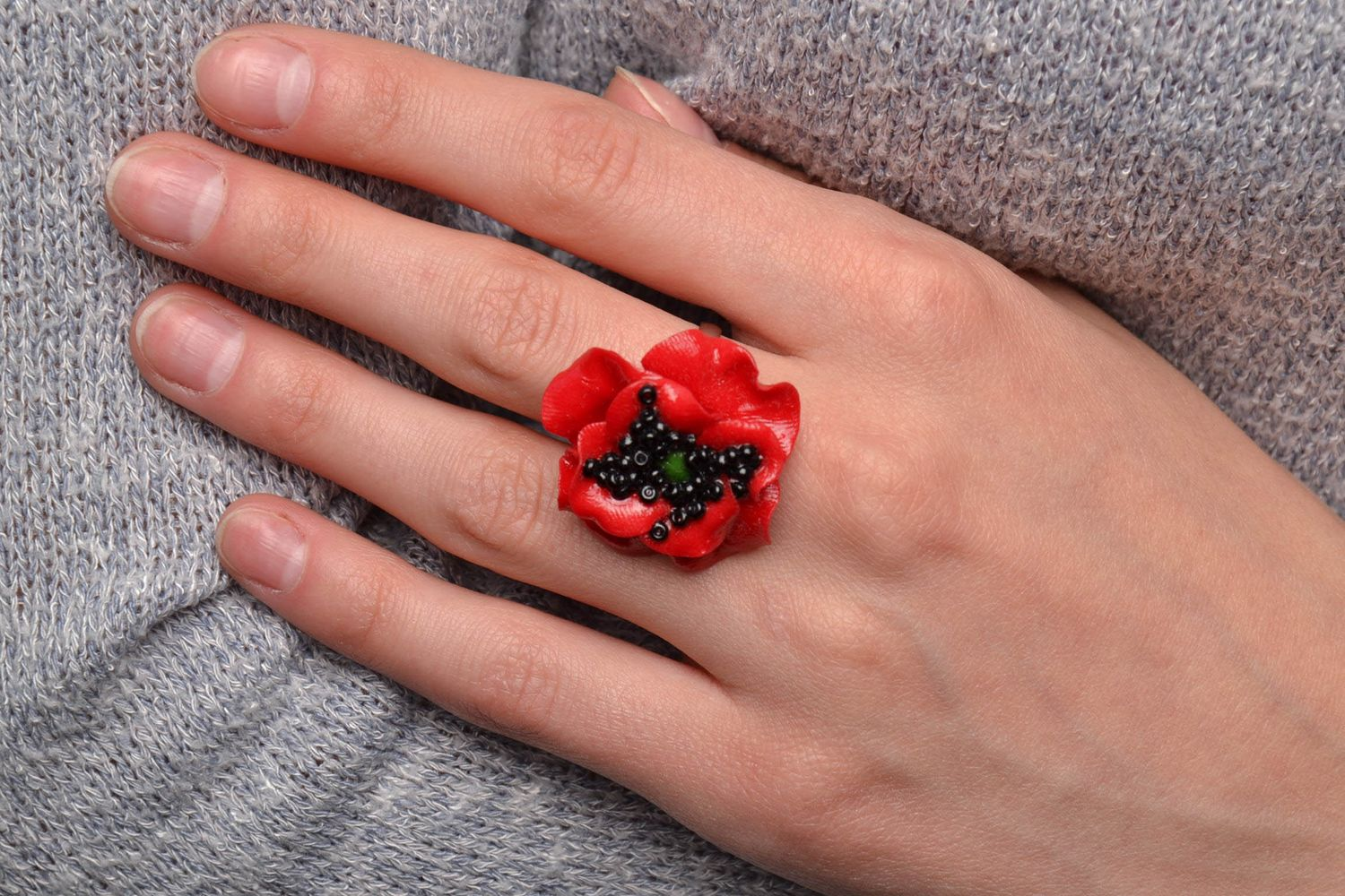 Polymer clay flower ring Poppy photo 5