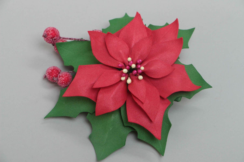 Beautiful handmade designer large foamiran flower brooch for women Pulcherrima photo 2