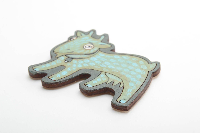 Bright handmade designer painted wooden fridge magnet for kids Goat photo 5