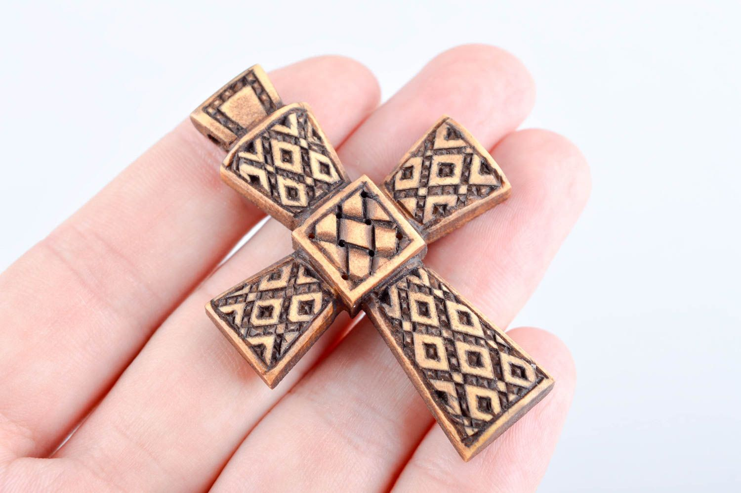 Handmade cross designer accessory unusual gift wooden jewelry wooden pendant photo 6