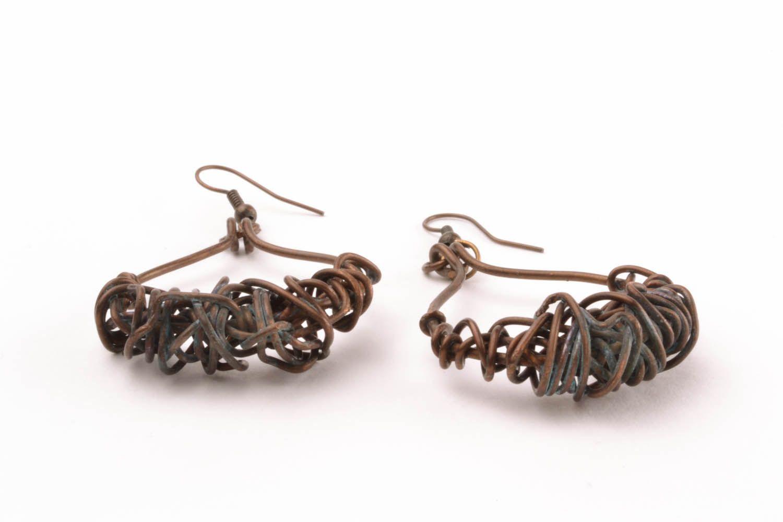 Copper earrings Pinstripes photo 5