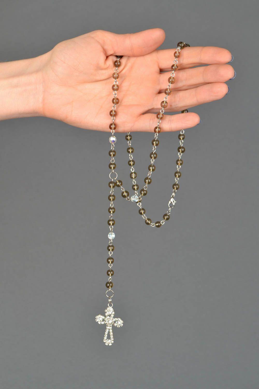 Women's quartz bead necklace with cross photo 1