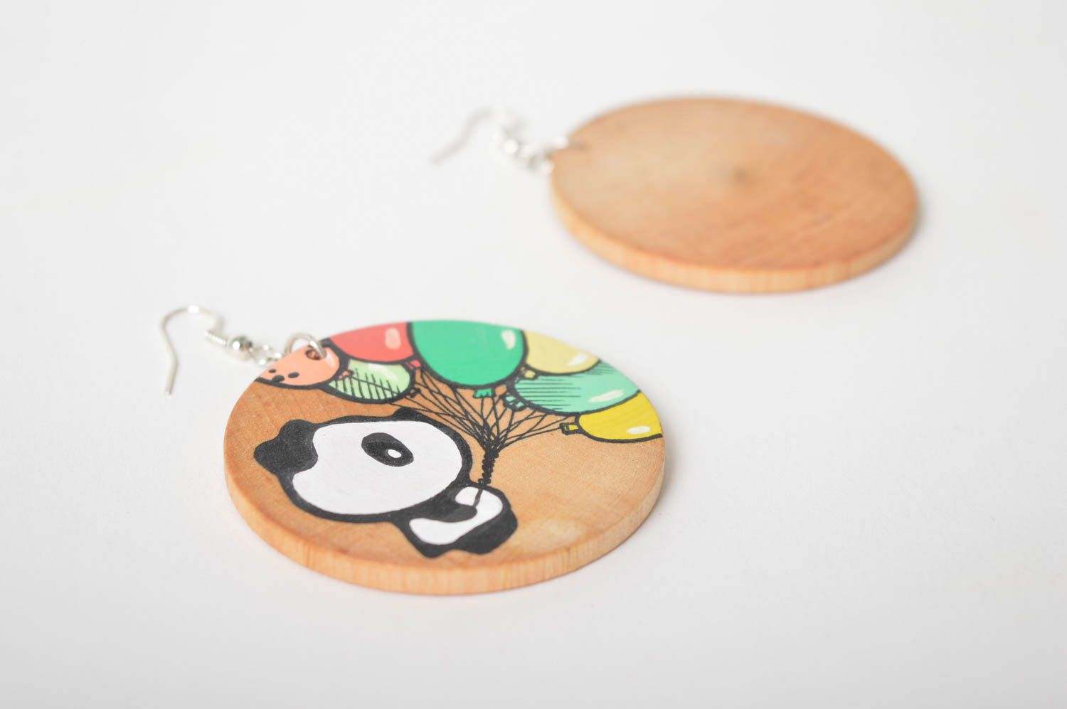 Wooden earrings handmade round earrings cute painted earrings with pandas photo 3