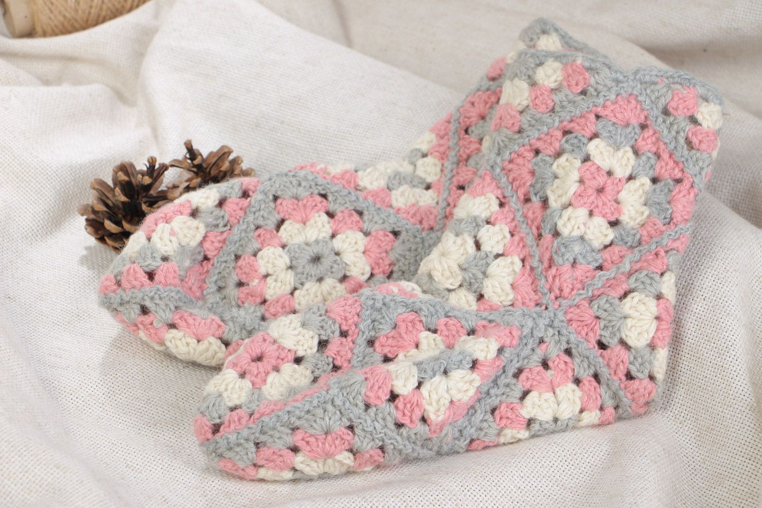 Handmade lace women's socks crocheted of woolen threads in tender colors 37-39 size photo 1