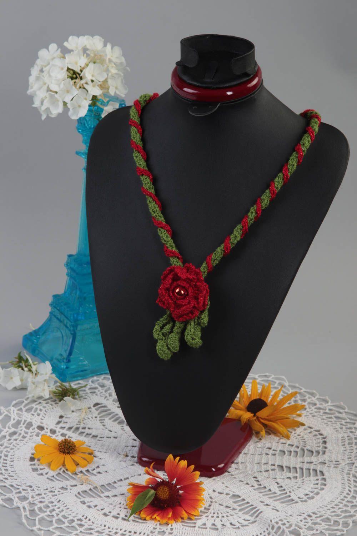 Unusual red pendant gift crocheted textile pendant stylish female jewelry photo 1