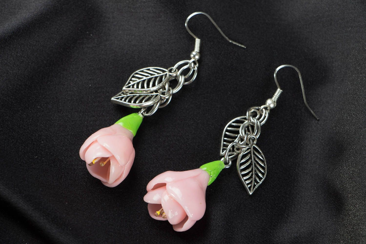 Polymer clay earrings Freesia Flowers photo 1