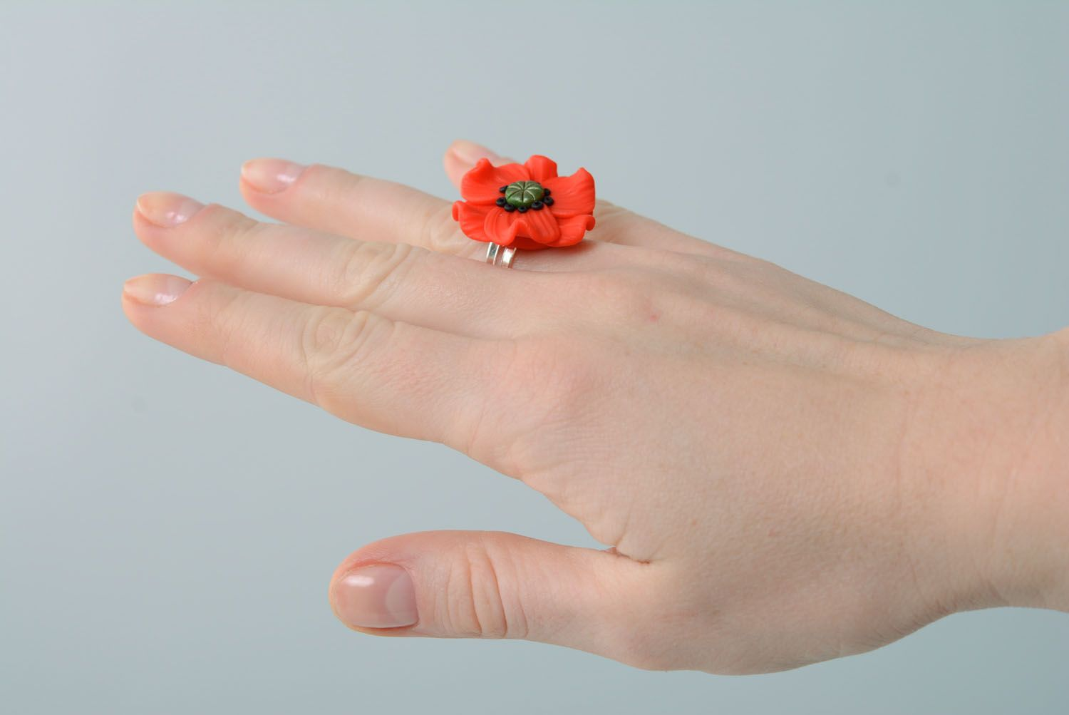 Polymer clay flower ring photo 4