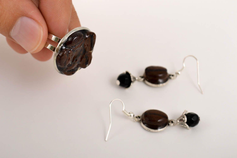Unusual handmade epoxy earrings epoxy ring gemstone jewelry set handmade gifts photo 3