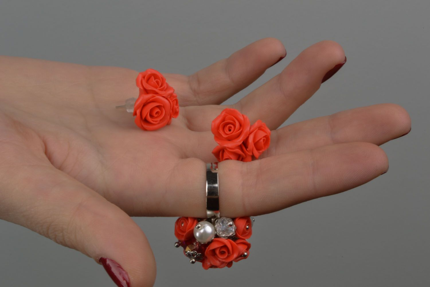Homemade evening ring and earrings photo 2