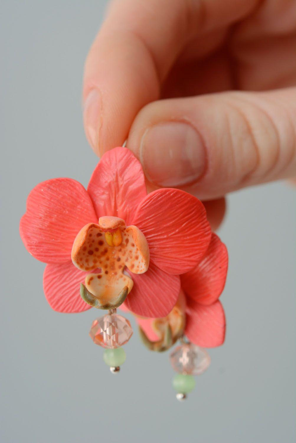 Polymer clay earrings Orchids photo 3