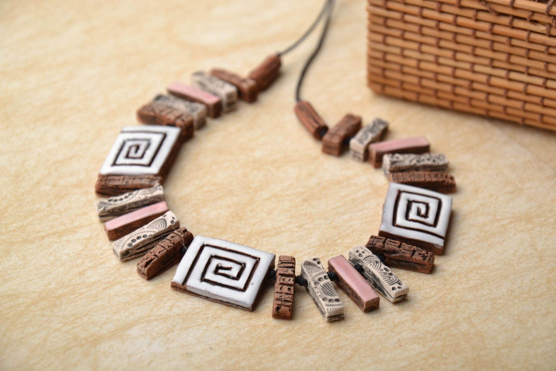 Unusual ceramic bead necklace photo 1