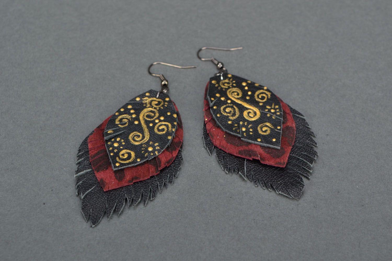 Leather dangle earrings Leaves photo 4