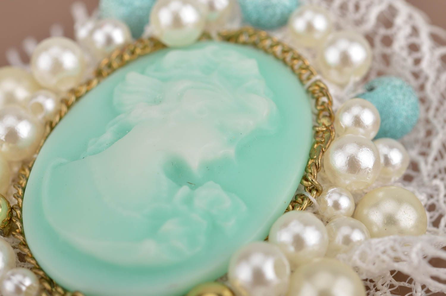 Handmade mint-colored cameo brooch with white lace accessory for women photo 4