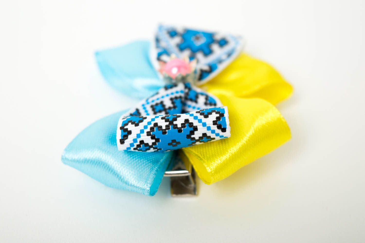 Beautiful handmade textile barrette bow hair clip childrens hair bow ideas photo 3