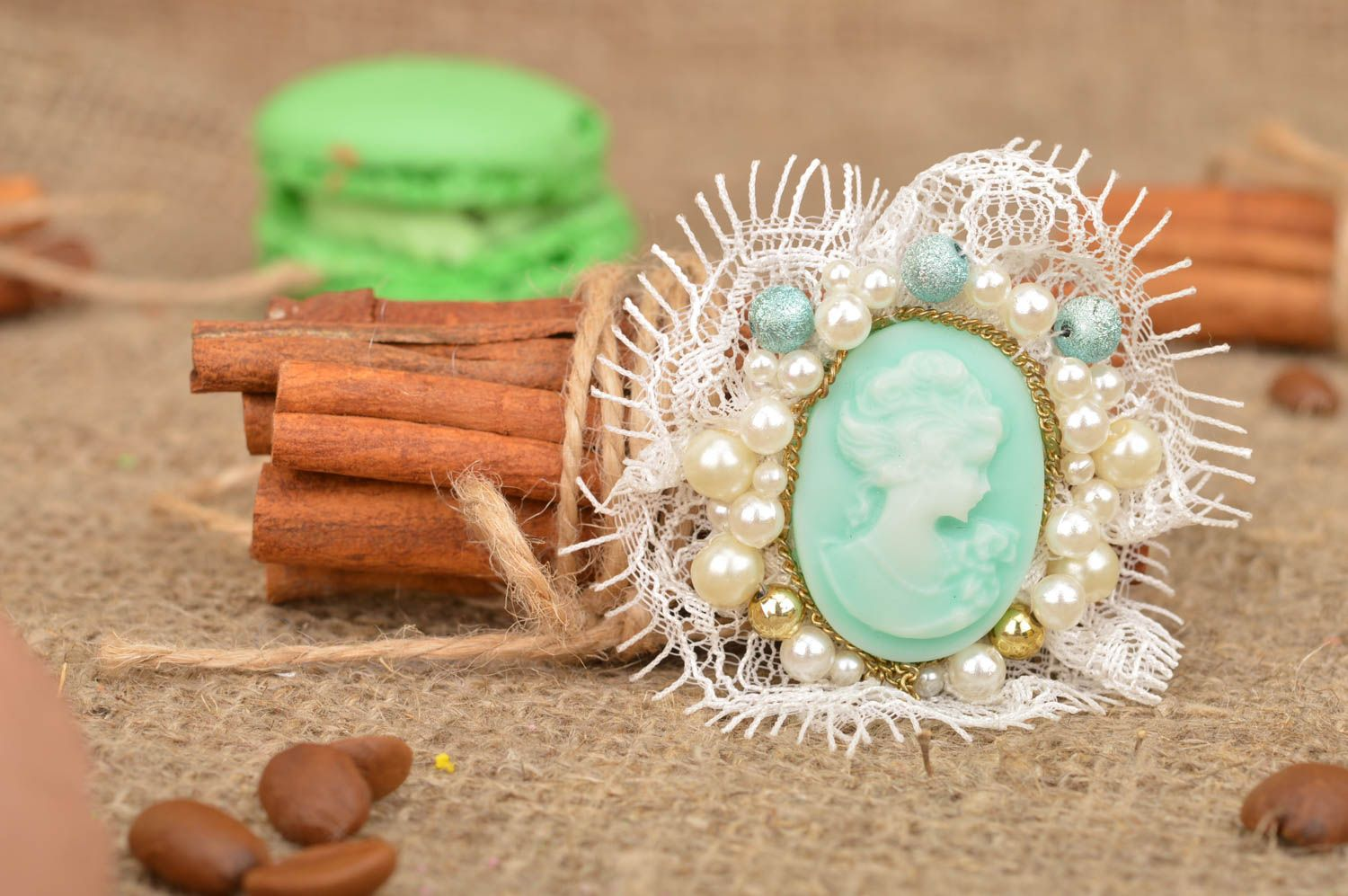 Handmade mint-colored cameo brooch with white lace accessory for women photo 1