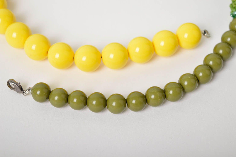 Handmade Schmuck Rocailles Kette Accessoire für Frauen Damen Collier grün gelb foto 5