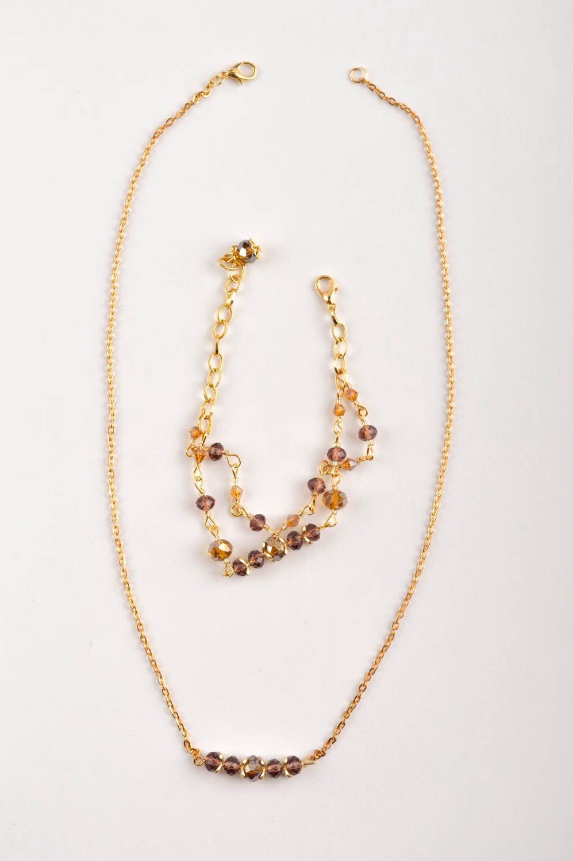 Handmade Schmuck Set Collier Halskette Damen Armband  mit Kristallen modisch foto 5