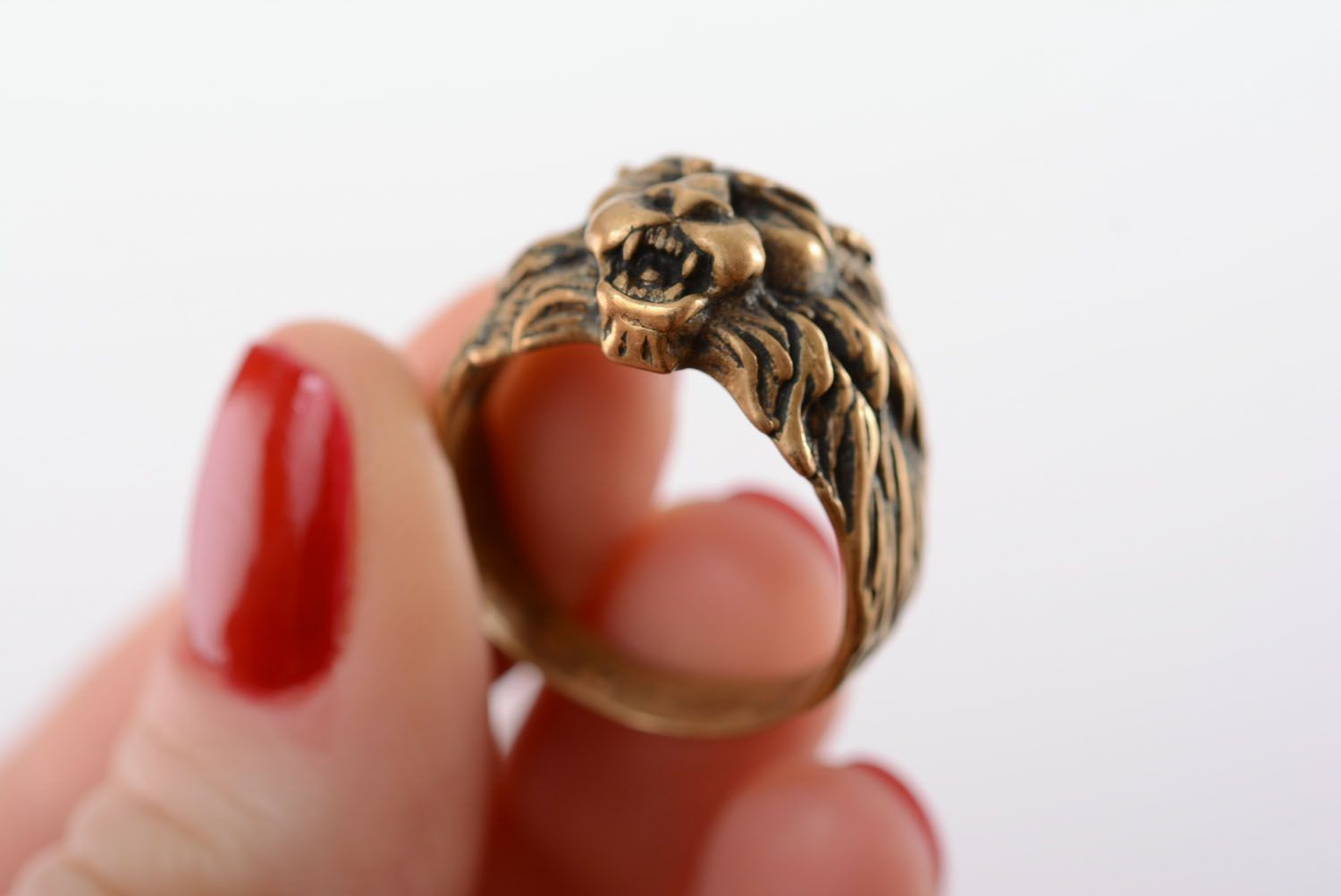 Bronze ring Scandinavian Lion photo 4
