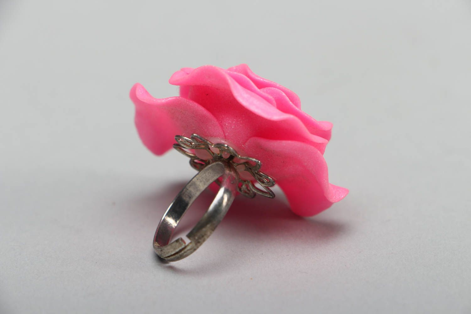 Polymer clay floral ring photo 2