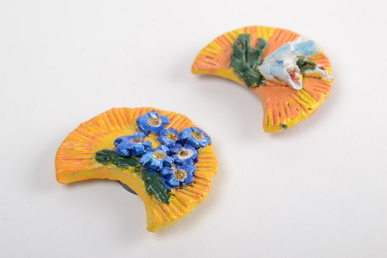 Set of ceramic fridge magnets handmade painted souvenirs home decor 3 pieces photo 2