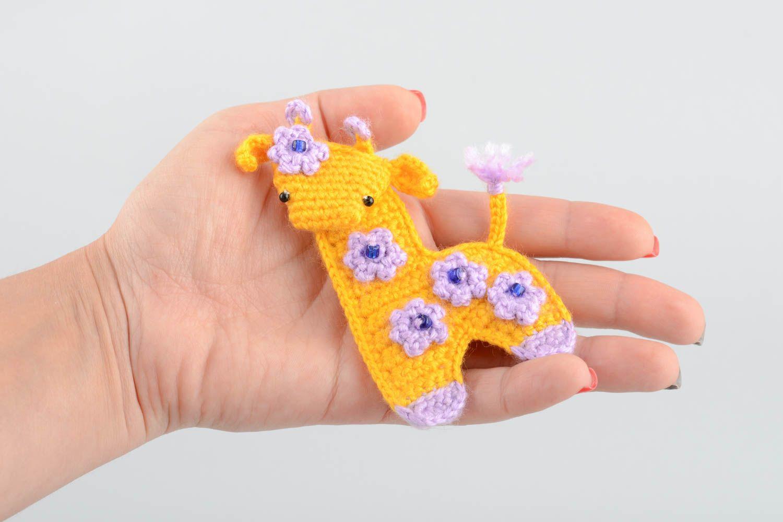 Handmade decorative soft crocheted magnet toy yellow Giraffe with flowers  photo 5