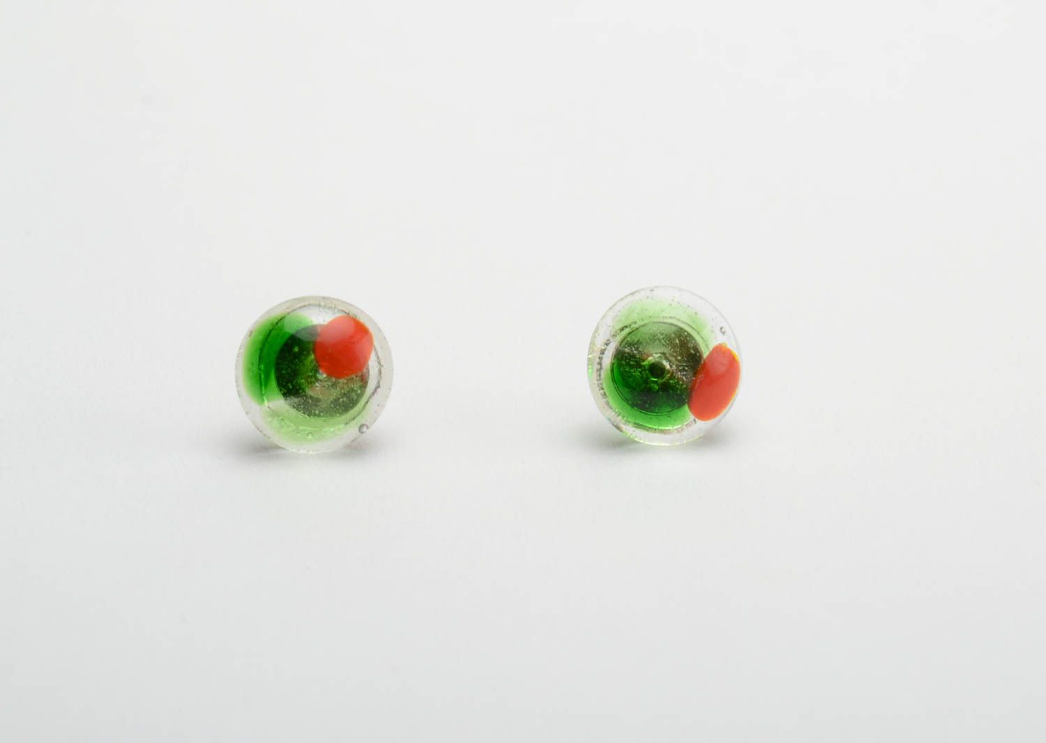 stud earrings Beautiful stud earrings glass fusing technique handmade designer accessory - MADEheart.com