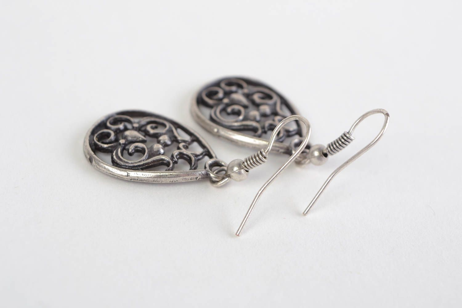 Beautiful handmade design metal lace earrings of silvery color photo 3