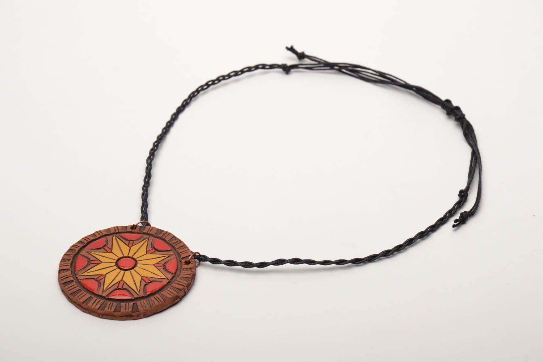 Керамический кулон с росписью этнический стиль  фото 3