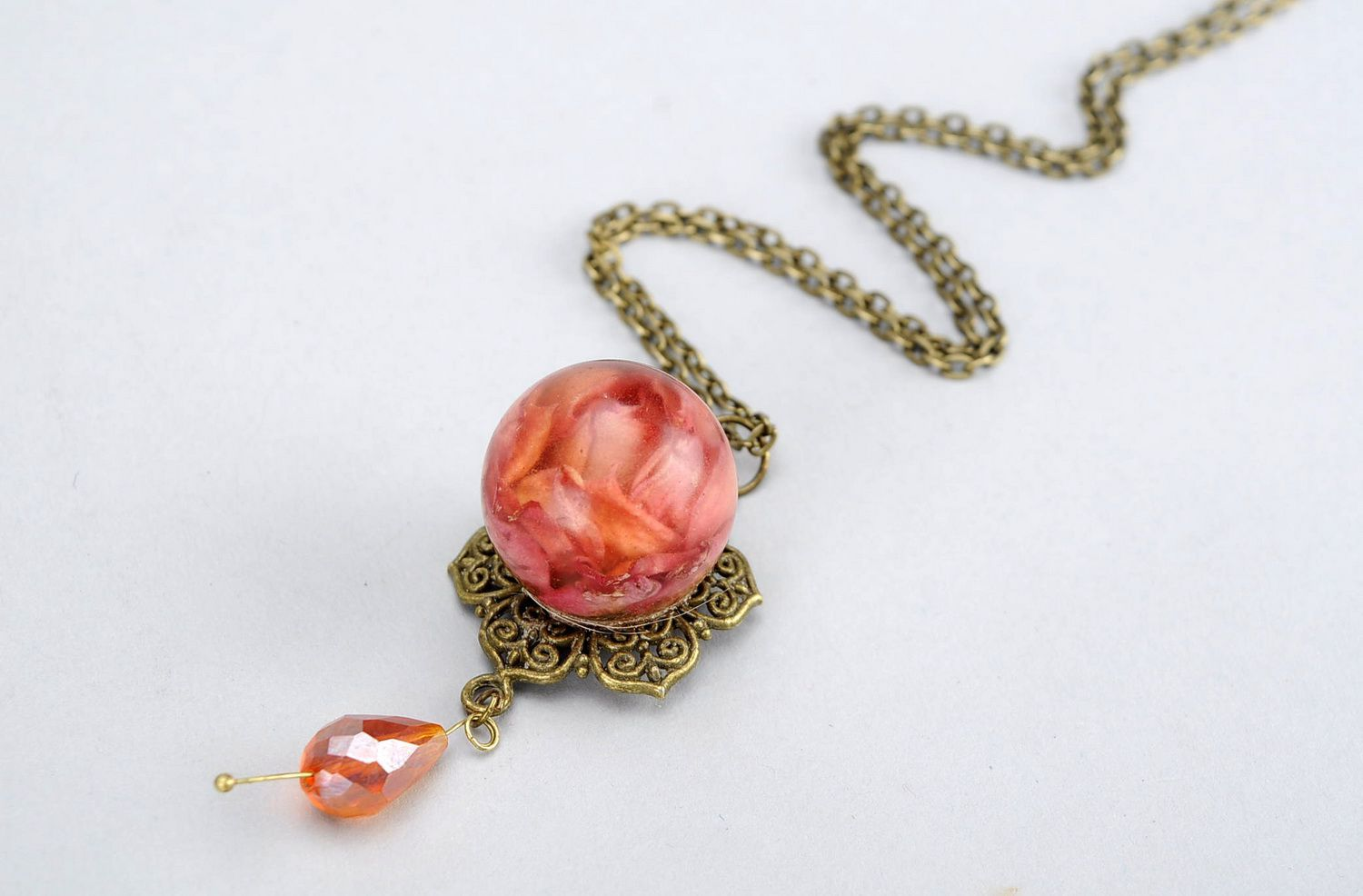 resin jewelry Pendant with petals of orange rose - MADEheart.com
