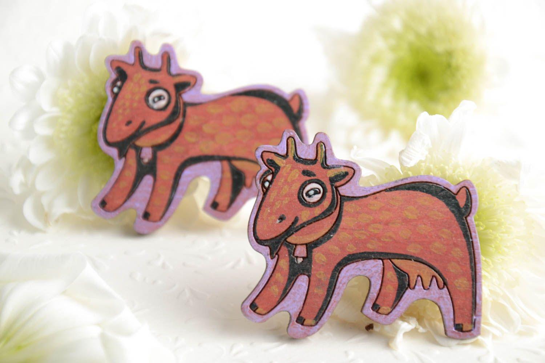 Bright funny children's handmade plywood fridge magnets set 2 pieces  photo 1