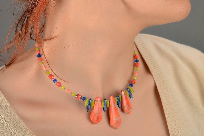 Handmade designer Czech glass necklace with variscite for summer photo 5