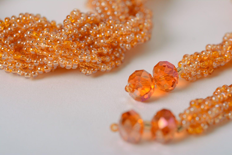 Витой жгут из бисера в виде косички персикового цвета ручной работы для женщин  фото 5