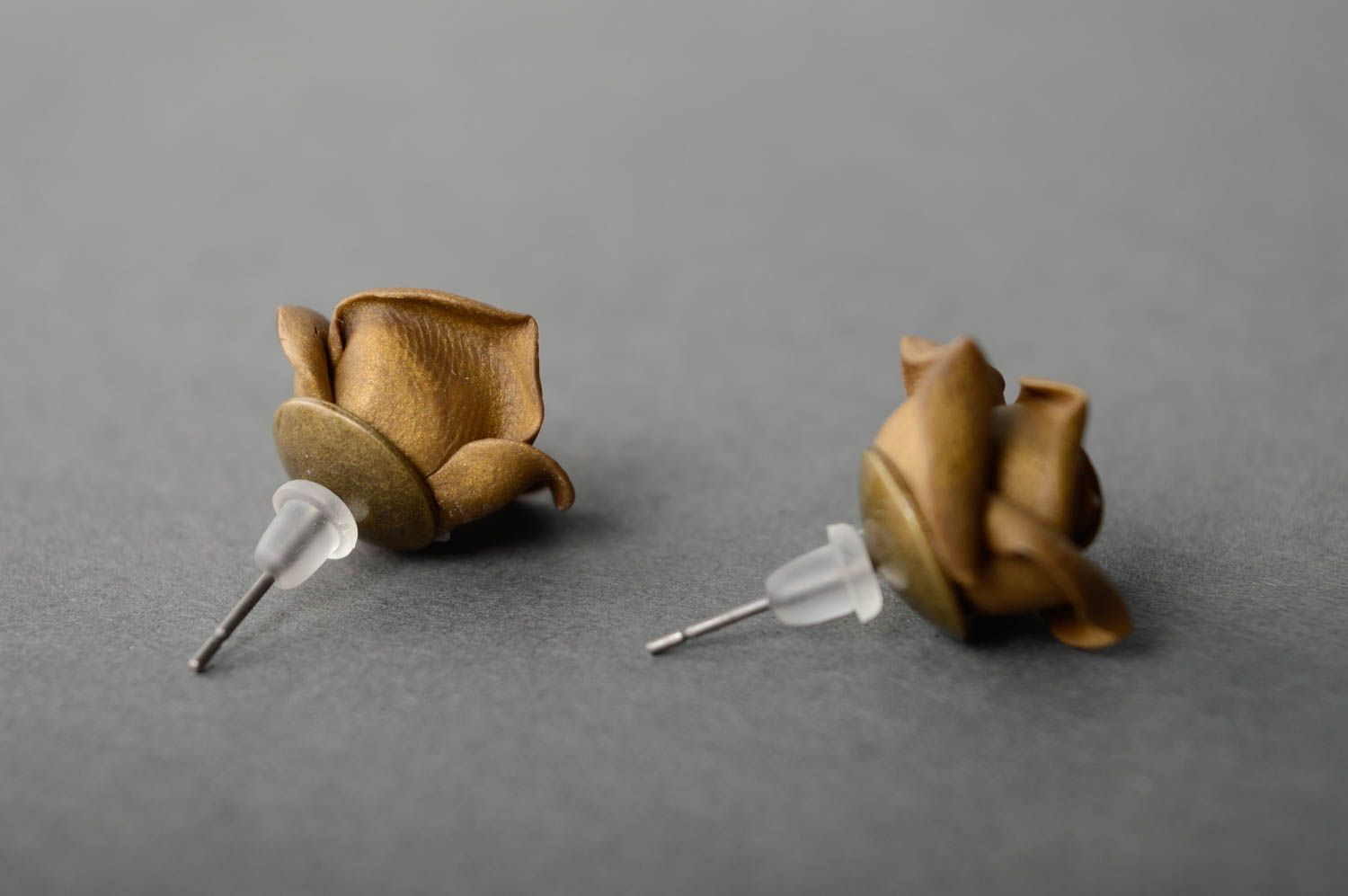 Unusual polymer clay earrings Roses photo 2