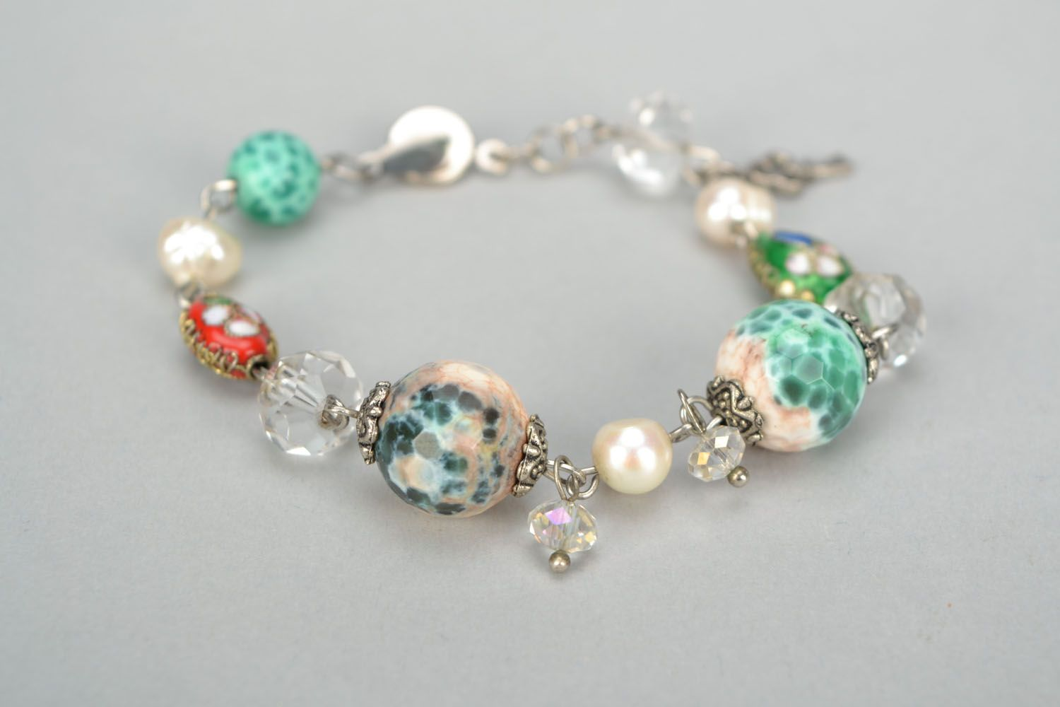 Bracelet with agate and river pearls photo 4