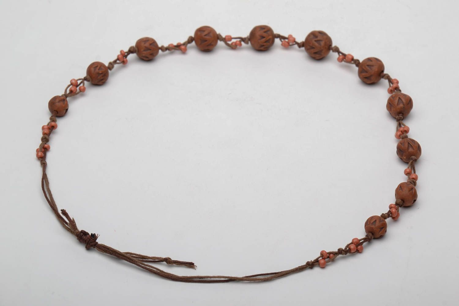 Brown ceramic bead necklace photo 5