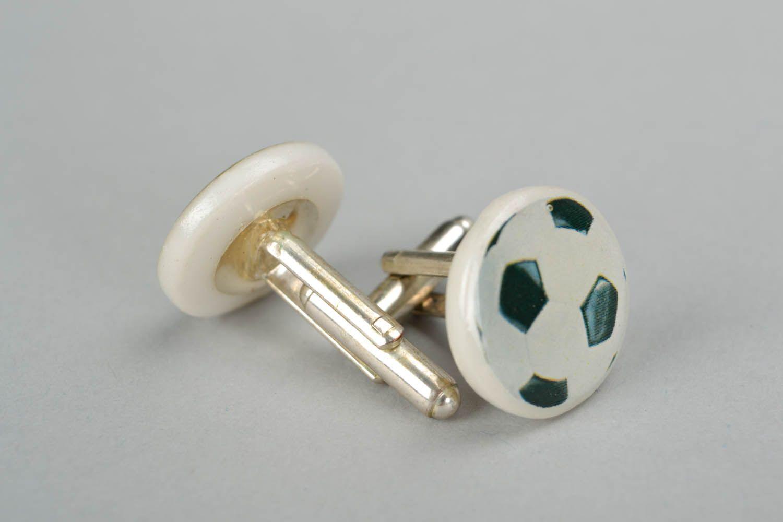 Polymer clay cuff links Soccer Ball photo 1