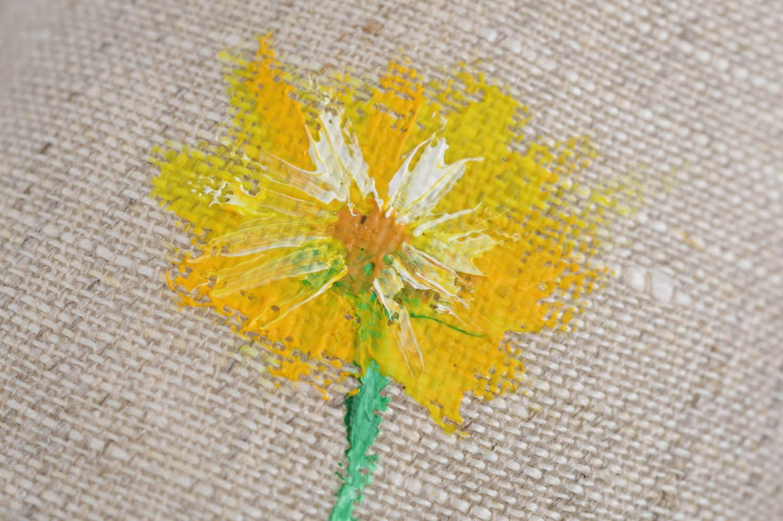Handmade cushion small sachets pillow natural linen painted dandelion home decor photo 5