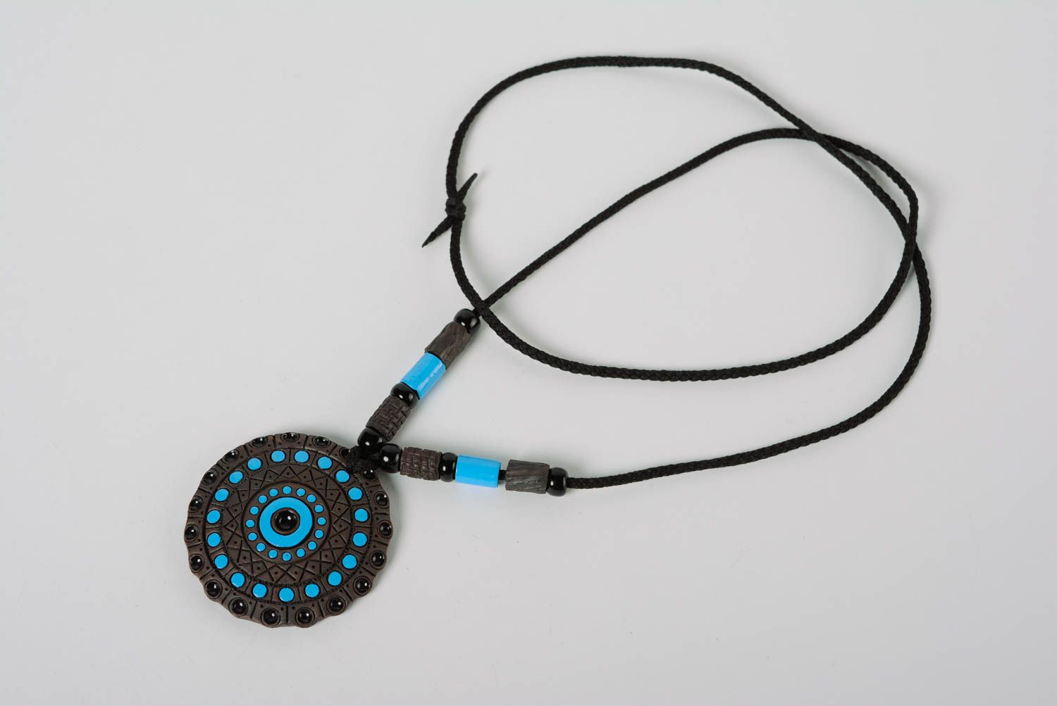 pendants Dark and blue handmade designer round clay pendant painted with enamels - MADEheart.com